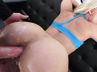 Blonde slut gives blowjob and gets analyzed in a dirty way